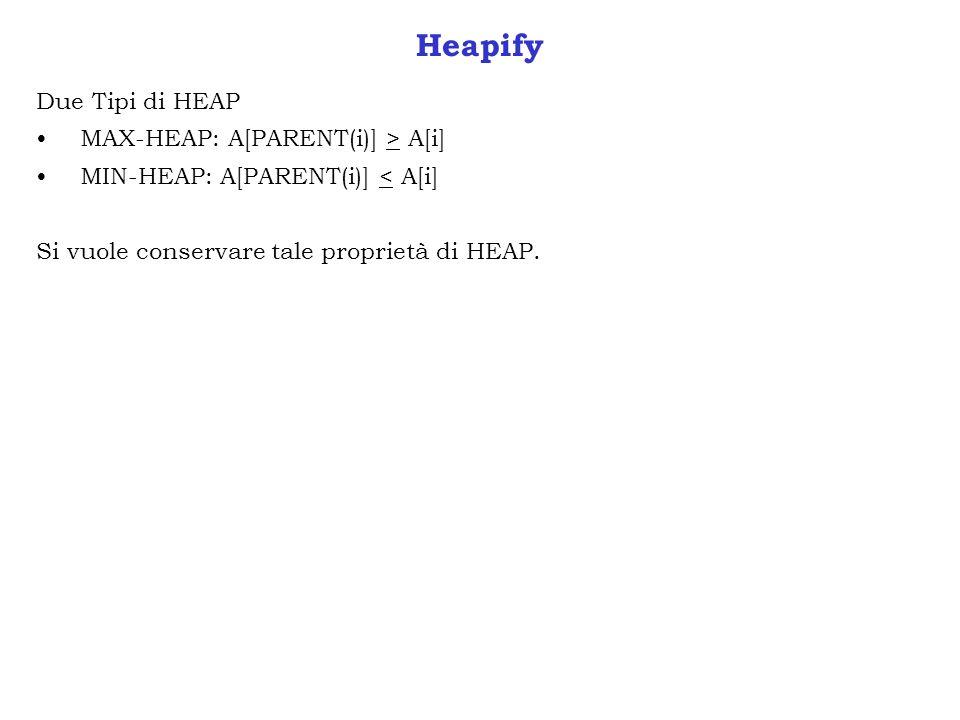 Heapify Due Tipi di HEAP MAX-HEAP: A[PARENT(i)] > A[i]